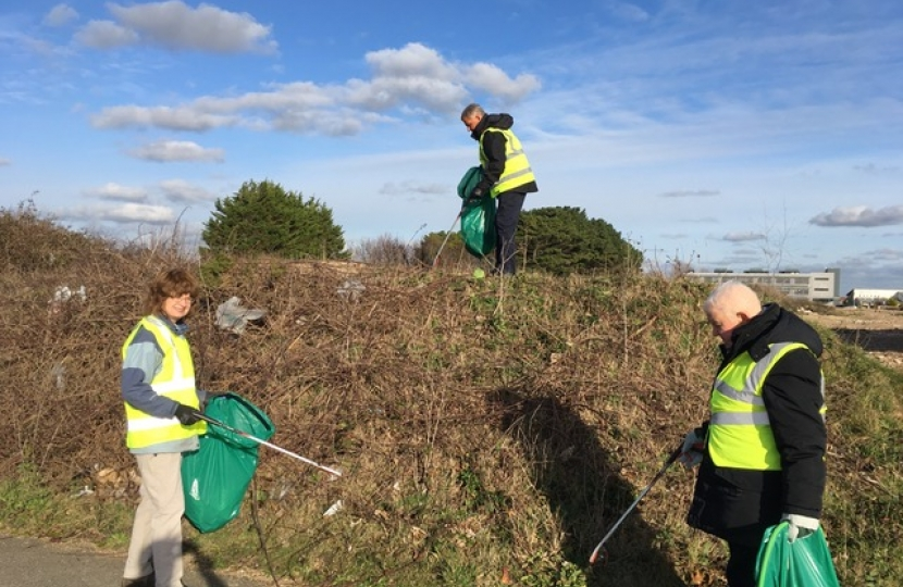 Cllr's Penny di Cara, Paul Metcalfe and David Elkin picking up litter