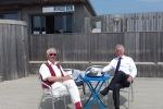 Cllrs Barry Taylor and Robert Smart enjoying a coffee at the Western View Cafe.